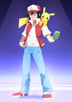 Ash and Pikachu :Commission: by moxie2D