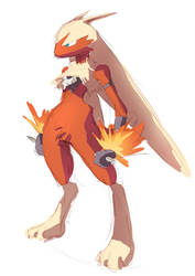 Pokemon Fusion - Lucario-Blaziken :Sketch: by moxie2D