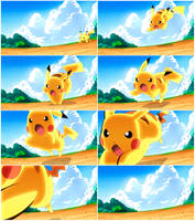 Pikachu - Quick Attack! :Animation Frames: by moxie2D