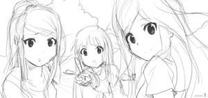 Teen Samus, Zelda and Peach :Sketch: by moxie2D