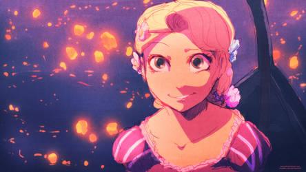 Rapunzel's Lights :Sketch: by moxie2D
