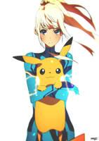 Zero Suit Samus and Pikachu by moxie2D