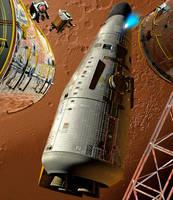 Mars Shuttlecraft Departing by Drell-7