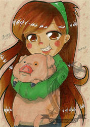 Toned Paper Mabel and Waddles by kuroitenshi13
