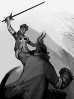 Hitoshura v Hellboy by jadedmandarin