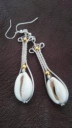Cowry shell drop earrings by zayday