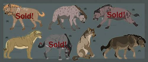 Hyena Adoptables pt:1 (5/7 open) by sanguine-tarsier