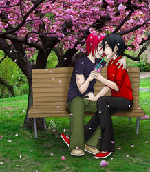 under the sakura tree by mazoku-chan