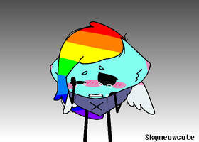 Rainbow cat cry by SkyMeowCute