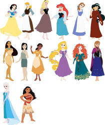 Barefoot Disney Princesses by ChipmunkRaccoonOz