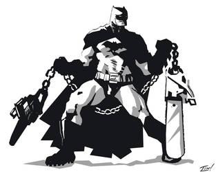 Batman with Chainsaw Nunchucks by ninjaink