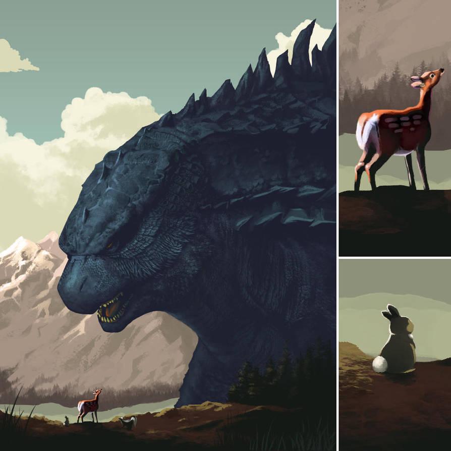 Bambi Versus Godzilla by ninjaink