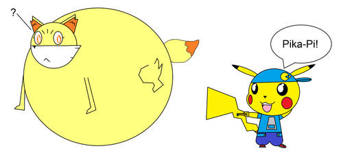 Pikachu Inflates Fennekin with a Wind Ring by PMD99Swell