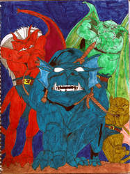 Gargoyles Trio and Bronx by TaliaLevid