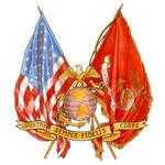 USMC crossed flags w EGA by LisaCrowBurke