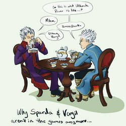 Sparda and Vergil's tea party by kartos