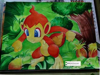Chimchar Painting Gen-IV by kurosaki720