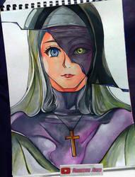 Drawing - The Nun(Anime Version) by kurosaki720