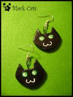 Black Cats earrings. by Croppka