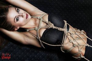 Tied up girl - Rope harness portrait - Fine Art of by Model-Space