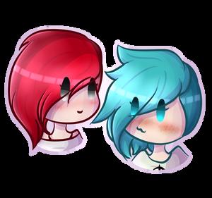 OC| Ruby and Aqua by GemLox7