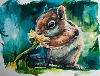 Chipmunk, gouache by LomovtsevaOlga