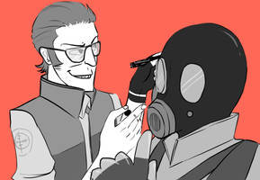 TF2 - Sniper and Pyro by Qurugu