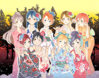 LOVE LIVE! Yukata Sunset by kaitquefait