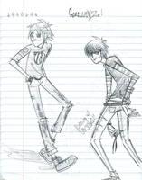 Gorillaz- 2D and Murdoc by Keji-Suke