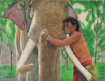 Ong Bak - Tony Jaa with elephant by Gequibren
