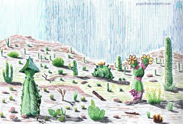 Inktober 2018 - 25 - 'Prickly' zone by Gequibren