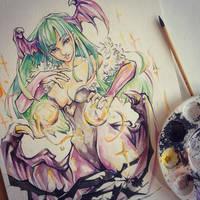 Watercolor doodle- Morrigan by ExShen