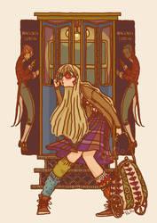 Luna Lovegood at the Hogwarts Express by RaRo81