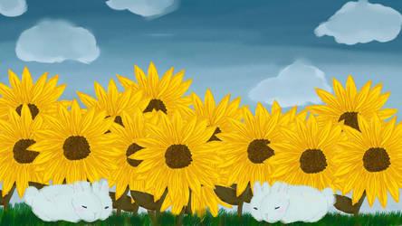 Sunflowers and bunnies~ by xLunarElf