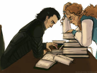 Loki and Sigyn by LessienMoonstar