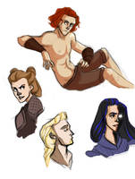 mythos sketches by LessienMoonstar