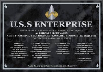 Enterprise H Dedication Plaque by keiku