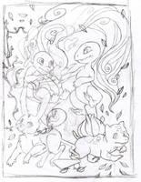 starter pokemon sketch by julv
