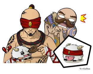 Lee Sin Feeding Poro by KittyConQueso