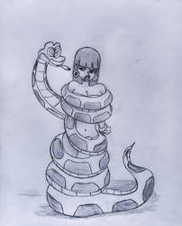 Chel in Kaa's coils by Pubbles18