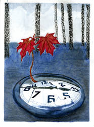clock and sapling by fionagh