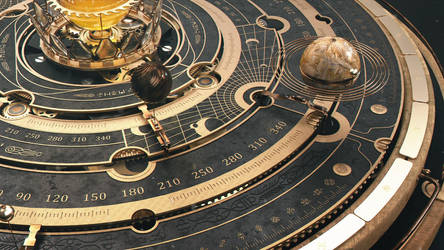Steampunk Astrolabe / Orrery Table Close-up 2 by dchan