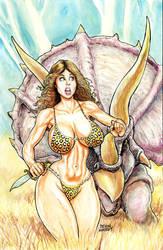 Cavewoman - Runaway Triceratops by icejaw19