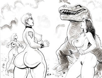Nude Beach Dino Encounter by icejaw19