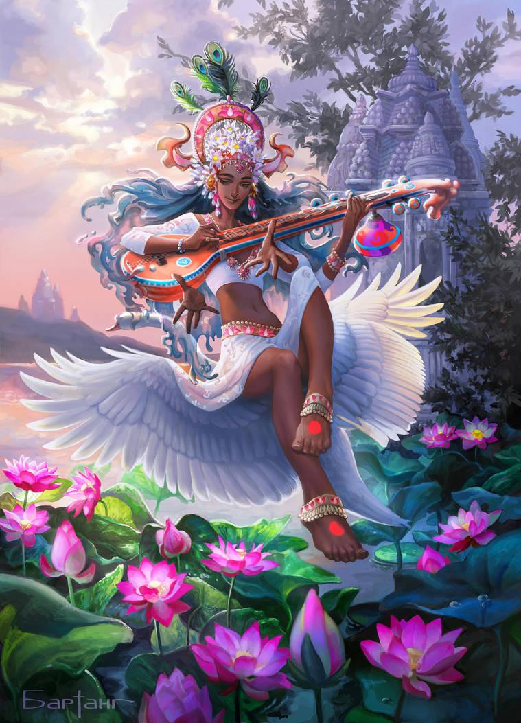 Sarasvati the Hindu goddess by Catlait