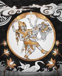 Brahma and Sarasvati by Catlait