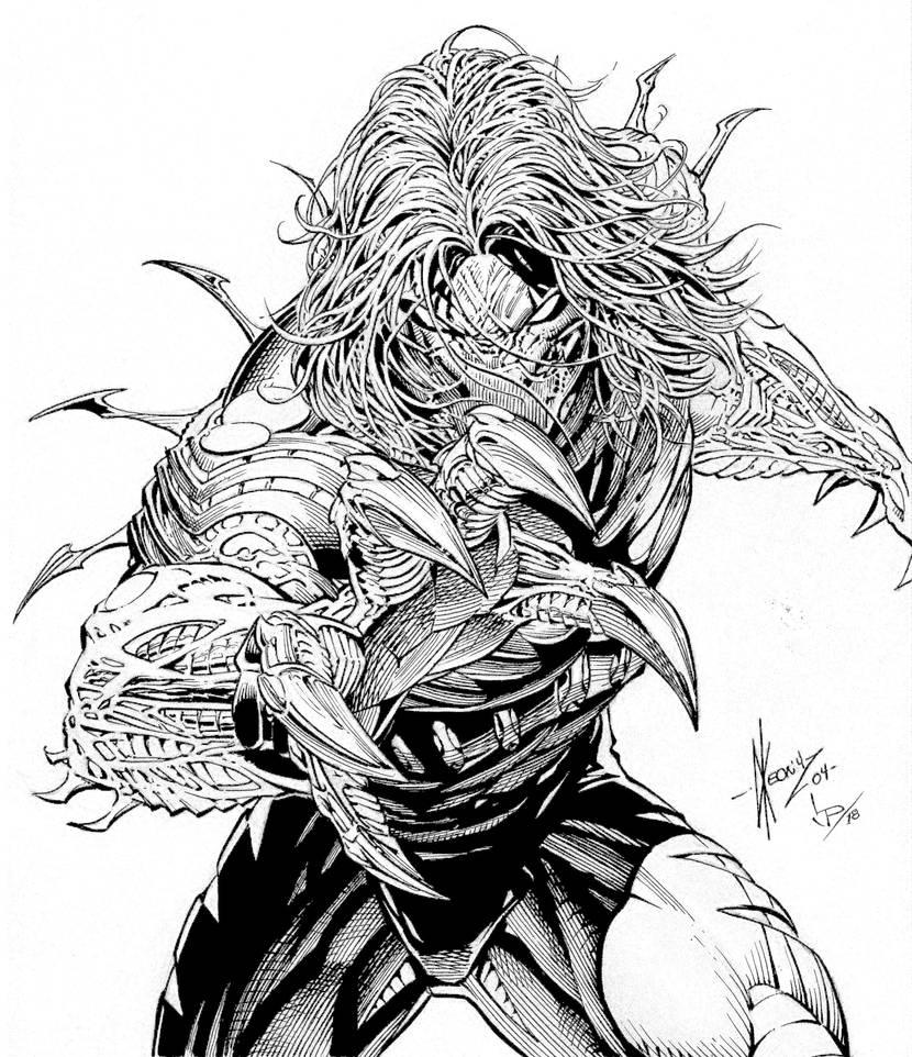 Dale Keown Darkness Fan inks by LuisPuig