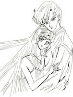 Usagi and Mamoru inked version by lilly-peacecraft