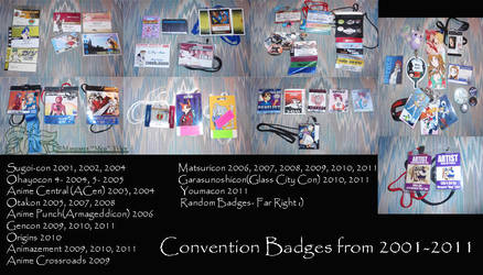 Convention Badges 2001-2011 by lilly-peacecraft