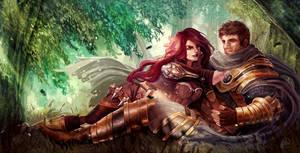 Art Trade ShiNaa: Katarina and Garen by Skyzocat